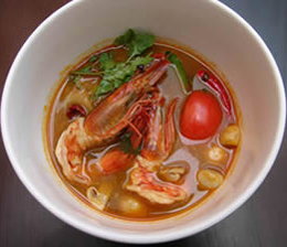 AzuThai Tom Yam Goong Soup Recipe Hot and Sour Prawn Soup with lemongrass, kaffir lime leaves, fresh coriander